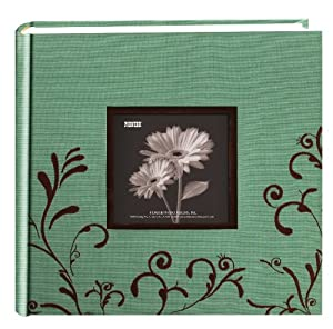 Pioneer Embroidered Scroll Fabric Frame Cover Photo Album, Brown on Aqua