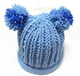 (ル・タン)Le TEMPS ハンドメイド ベビー用ニット帽子 ボンボン付 1~3歳用 5(アクア×ブルー)