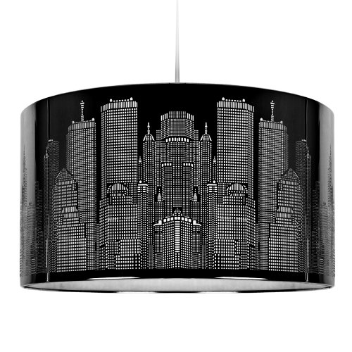 Modern Gloss Black New York Skyline Ceiling Pendant Light Shade
