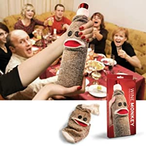Wine Bottle Sock Monkey dinner party man cave fun gift Drinking gift PAIR FREDS at 'Sock Monkeys'
