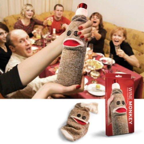 Wine Bottle Sock Monkey dinner party man cave fun gift Drinking gift PAIR FREDS at 'Sock Monkeys'