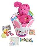 Kids Easter Gift Basket ~ Felt Baskets Filled with Assorted Treats (Pink)