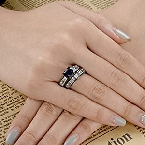 EVER FAITH Black Sterling Silver 925 CZ Love Heart Cut Engagement Ring Set Sapphire Color w/ Clear - Size 8 from EVER FAITH