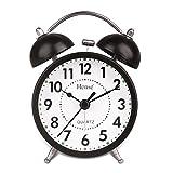 HENSE CLOCKS(ハンセ)ライト付き 目覚し時計 ツインベル 大音量ベル音 アナログ時計 連続秒針 3インチ HA01-02 黒い