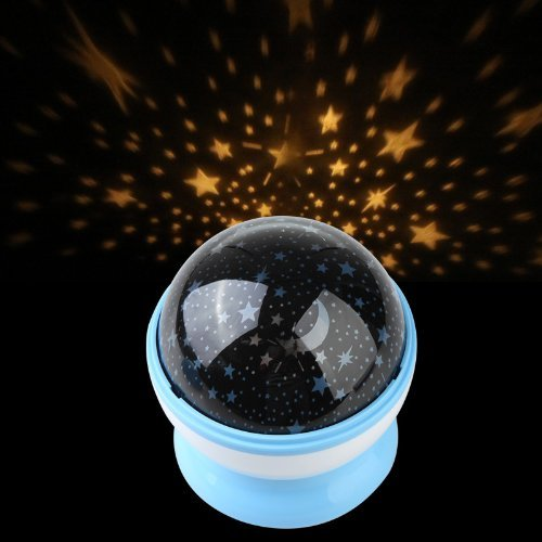 Xhan Room Night Light Lamp Rotary Flashing Starry Star Moon Sky Cosmos Projector (Blue) front-797761