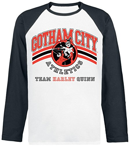 Harley Quinn Gotham City Athletics Manica lunga bianco/nero L