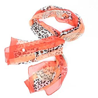 Red Black Soft Chiffon Leopard Printed Neck Scarf Shawl for Women