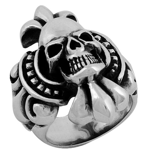 Stainless Steel Skull Ring (Available in Sizes 10 to 14) size 10