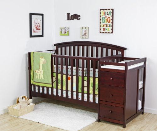 Dream On Me Niko 5-in-1 Convertible Crib with Changer, Cherry
