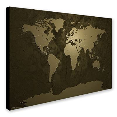 Trademark Fine Art Gold World Map by Michael Tompsett Canvas Artwork