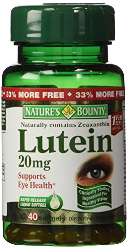 Nature's Bounty Lutein 20mg, 33% Bonus Size Bottles, 80 Softgels (2 X 40 Count Bottles)