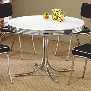 Coaster retro round dining kitchen table in for Dining room tables on amazon