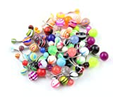 316L Surgical Steel 14 Guage 50 Assorted Acrylic Ball Belly Navel Ring Bar Barbell Wholesale + Belly Retainer