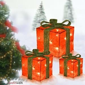 Dekorativer Geschenke Box Set X mas Weihnachtsdeko 3 Geschenkboxen