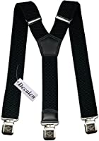 Mens braces wide adjustable and elastic suspenders Y shape with a very strong clips - Heavy duty