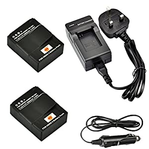 DSTE 2pcs AHDBT-301 Rechargeable Li-ion Battery with Charger DC137 for GoPro HD Hero3 and GoPro AHDBT-201, AHDBT-301 Digital Cameras