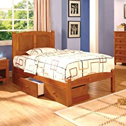 Cara Mission Style Oak Finish Twin Size Youth Bed Frame Set