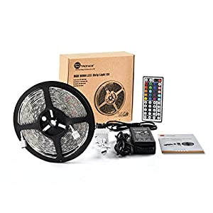 TaoTronics RGB LED Strip Light Kit, Color Changing RGB SMD 5050, (16.4ft, 300 LEDs, Dimmable, Including a 44-key Remote Control & 60w Power Supply,Water-Resistant)