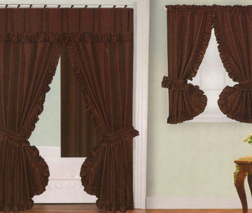 Chocolate Brown Fabric Double Swag Shower Curtain With Matching Window  Curtain And Vinyl Liner