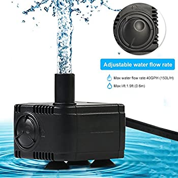 JAD 40 GPH (150L/H) Submersible Water Pump Professional Ultra-quiet water pump for aquarium,garden,pond,fish tank, fountain