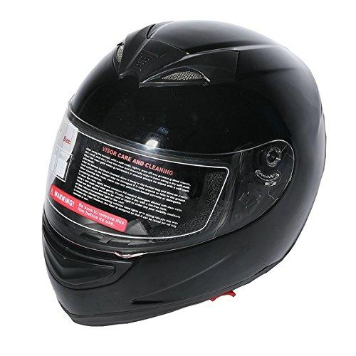 TCMT Dot Adult Motocross Offroad Street Helmet Gloss Black Dual Visor Sun Motorcycle Helmet Flip Up Modular Full Face Black Helmet XL