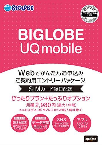 【Amazon.co.jp限定】BIGLOBE UQ mobile ぴったりプラン+たっぷりオプション エントリーパッケージ au対応SIM データ通信/音声通話 / VEK53JYV