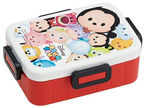 Japan Disney Official Tsum Tsum - Deluxe Mickey Mouse Friend Double Two Compartment Travel Lunch Box with Tight Seal Lid Microwave Dishwasher Safe SKATER