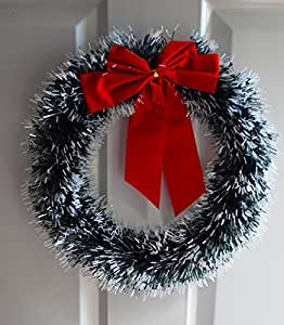 New luxury artificial red christmas wreath snowy for Outdoor christmas baubles