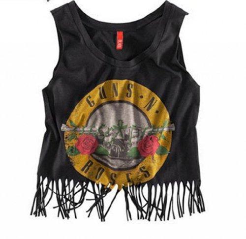 Wiipu Womens Hem Tassel Trim Top Gun Classic Rose Printed T-Shirt (J2-114)-Small Black