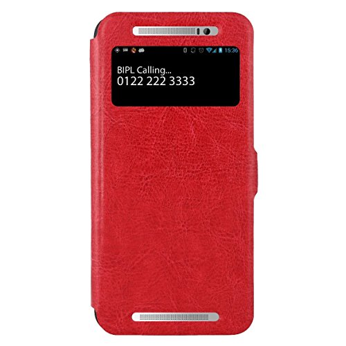 SWAN HTC One E8 Flip Cover, Slim Case Cover, Protective and Stylish Case for HTC One E8 Dual Sim (Red)  available at amazon for Rs.499
