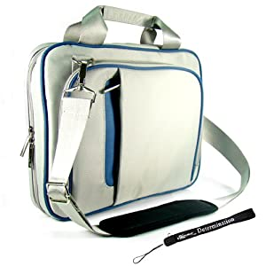 Kroo Blue and Gray Creamy Carrying Case Optional Shoulder Strap For Acer Aspire One AOA150 8.9-Inch Netbook Now with More Space, More Durable, Looks CooL + Includes a 4-inch Determination Hand Strap