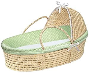 Badger Basket Natural Hooded Moses Basket, Sage Dot Bedding