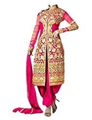 Fabfiza Pink Georgette Embroidered Semi-stitched Straight Suit
