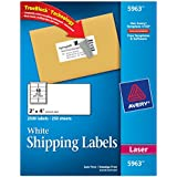 Avery® White Shipping Labels for Laser Printers with TrueBlock Technology,  2 Inches x 4 Inches, Box of 2500 (5963)