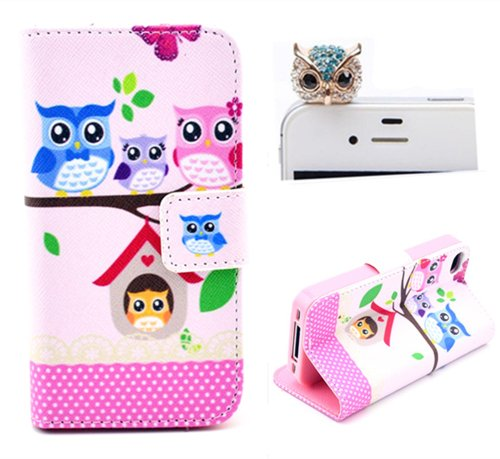 Vandot Phone Mobile Accessory 2in1 Cartoon Owl Family For Apple iPhone 4 4s 1x Folio Book Night Owl Flower PU Leather Cover Case Soft Silicone TPU Back Skin Shell + 1x Metal Owl Diamond Anti Dust Plug Earphone Jack Cap Rhinestone- Purse with Card Money Slots Stand Artificial Synthetic Leather Wallet for Lady Woman- Polka Dot Green White Pink Blau