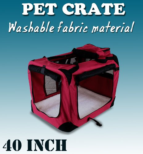 New Xl Dog Pet Puppy Portable Foldable Soft Crate Playpen Kennel House - Red front-687181