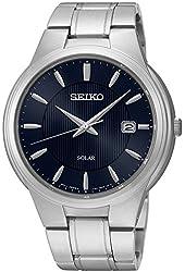 Seiko SNE403 Men's Core Silver Bracelet Band Black Dial Watch