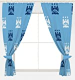 Football Manchester City FC 'Bullseye Repeat Crest 52% Polyester 48% Cotton 72 Inch Curtain