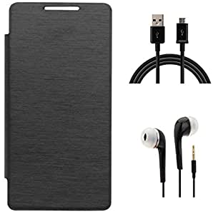 Tidel Black Durable Premium Flip Cover Case For Xolo Prime With 3.5mm Jack Handsfree Earphone & Data Cable