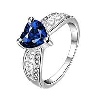 Yellow Chimes Blue Heart Beauty Austrian Crystal Sterling Silver Ring For Girls