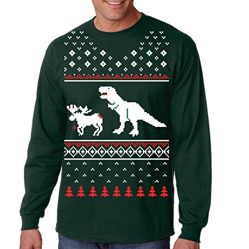 T-Rex Attack Moose Ugly Sweater Long Sleeve Shirt