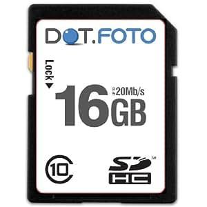 Dot.Foto - 16 Go Carte mémoire SDHC Classe 10 - 20Mo/sec pour appareils photo Nikon Coolpix A/AW [Pour la compatibilité voir la description]