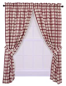 Logan Large Scale Plaid Tailored Panel Pair Curtains with Tiebacks, 68-Inch-by-63 Inch, Red
