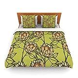 "Kess InHouse Gill Eggleston ""Protea Olive"" Green Orange King Fleece Duvet Cover, 104 by 88-Inch"