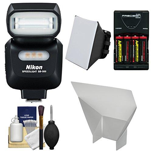 Nikon Sb-500 Af Speedlight Flash & Led Video Light With Batteries & Charger + Softbox + Reflector Kit For D3200, D3300, D5200, D5300, D7000, D7100, D610, D750, D800, D810, D4S Dslr Cameras