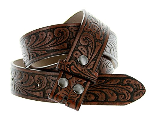 "Western Embossed Tooled Floral Leather Snap On Belt Strap 38mm 1-1/2"" (XL (38""), Brown)"
