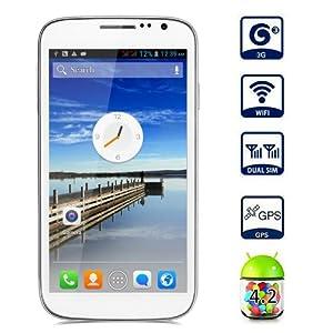 """Smartphone Cubot P9 5.0"""" écran tactile Google Android 4.2 Débloqué Dual Core Dual SIM 3G Wi-Fi Bluetooth - Blanc - resolution 960 x 540 - caméra arrière (8,0 mégapixels), caméra frontale (2,0 Mégapixel) - pour orange, SFR, Bouygues"""