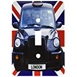 3dRose lsp_113050_1 London Black Taxi Cab on British Flag Union Jack Background Uk Great Britain United Kingdom Travel Light Switch Cover (Color: Multicolor)