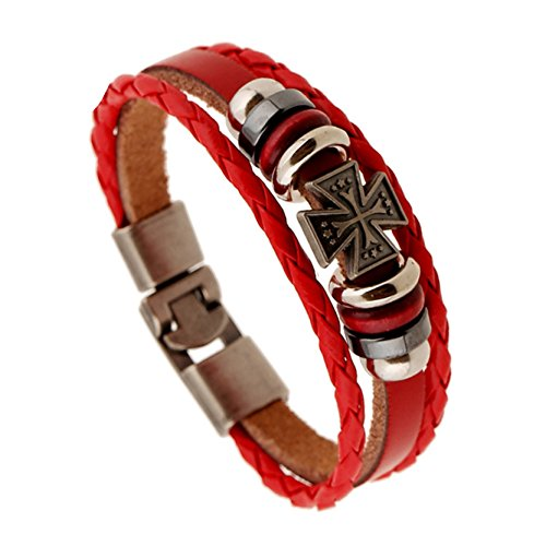 LEATHER_B Vintage Cross Punk Beads Woven Red Leather Bracelet Bangle Hip-hop Multilayer Warp Bangle (Pater Noster Cord compare prices)