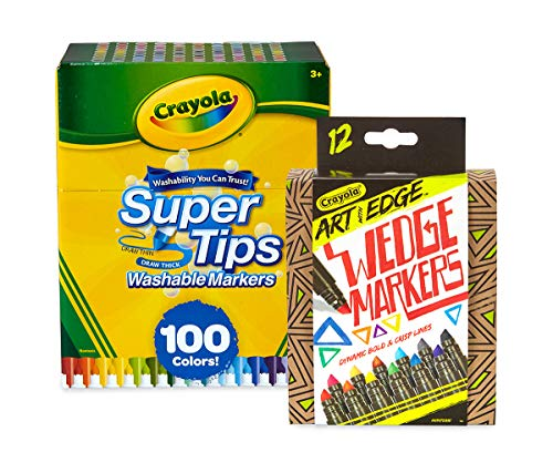 Crayola 100 Ct Supertips/Art with Edge Marker Bundle Washable Markers (Amazon Exclusive) [+Peso($47.00 c/100gr)] (US.AZ.16.49-0-B07H55CKN3.387)